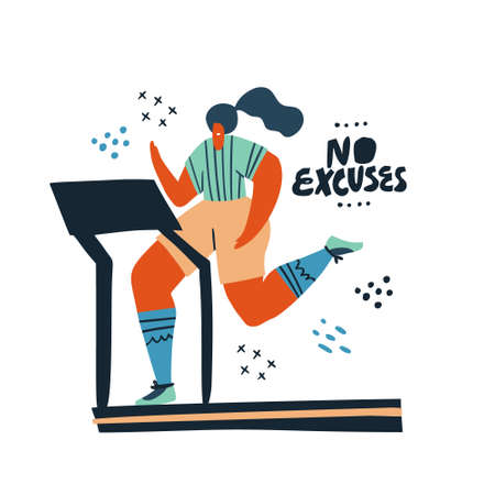 Woman running on treadmill hand drawn illustration. No excuses flat color lettering on white background. Runner cartoon character with motivational vector ink brush phrase. Gym poster, banner design
