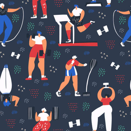Workout, training flat color seamless pattern. People in sportive clothing cartoon characters. Bodybuilding, athletic exercise. Fitness, sport hand drawn background. Wrapping paper, wallpaper design Ilustracja