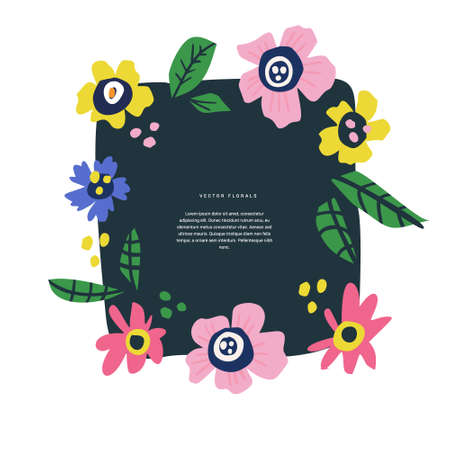 Floral text circle frame hand drawn flat layout. Decorative round border with vector blossom. Flowers, leaves cartoon illustration with copyspace. Greeting card, invitation design element