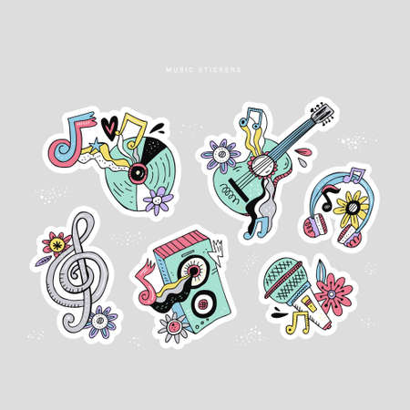 Hippie music doodle stickers set. Rock n roll cartoon illustrations. Disco party sketch patches. Guitar, headphones, treble clef. Musical festival, concert, event poster hand drawn design elements