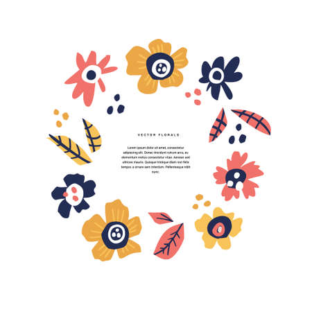 Floral wedding greeting card hand drawn layout. Decorative round border with vector blossom, bloom. Inflorescence cartoon illustration with copyspace in circle frame. Postcard, invitation design 向量圖像