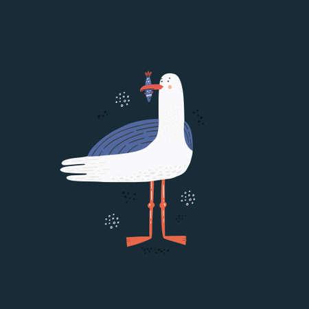 Seagull vector hand drawn illustration. Sea bird holding fish in beak isolated clipart. Cute wild animal cartoon character in scandinavian style. Summer holiday vacation postcard design element