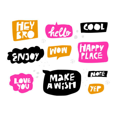 Lettering in multicolor speech bubbles set. Cartoon slang words. Messages flat hand drawn illustrations pack. Handwritten text in black, orange, pink frames. Cool, Wow, Enjoy, Hello, Love you phrases Illustration