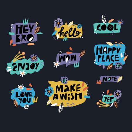 Lettering in floral frames set. Cartoon slang words in multicolor speech bubbles. Messages flat hand drawn illustrations pack. Text in flowers and leaves borders. Happy place, Make a wish phrases