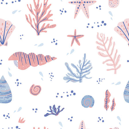 Seaweeds and shells hand drawn seamless pattern. Marine life vector wrapping paper. Conch and scallop in scandinavian style. Water drops and corals. Underwater plants and animals textile ornament