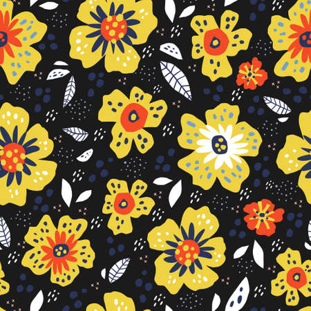 Flowers with leaves retro seamless pattern. Yellow blossoms on black background. Floral hand drawn textile ornament for summer dress. Botanical vector wrapping paper in vintage style