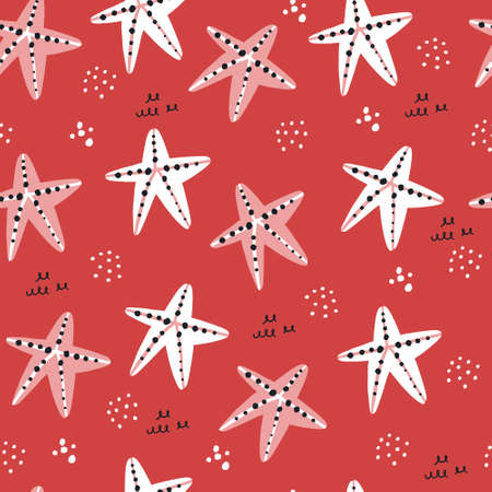 Starfish hand drawn seamless pattern. Tropical marine textile ornament for swimsuit. Underwater life red backdrop in scandinavian style. Vector wrapping paper in retro style. Dots doodle drawing 向量圖像