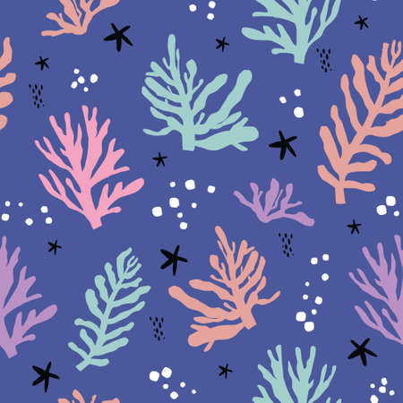 Seaweeds flat handdrawn seamless pattern. Marine plants vector wrapping paper. Leaves, corals and starfish in scandinavian style. Underwater life backdrop. Travel postcard background