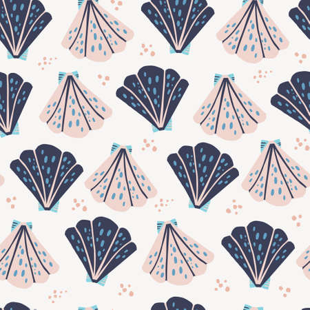 Scallops flat hand drawn seamless pattern. Tropical exotic marine textile ornament. Underwater life backdrop in scandinavian style. Pink and blue seashells on beach vector wrapping paper