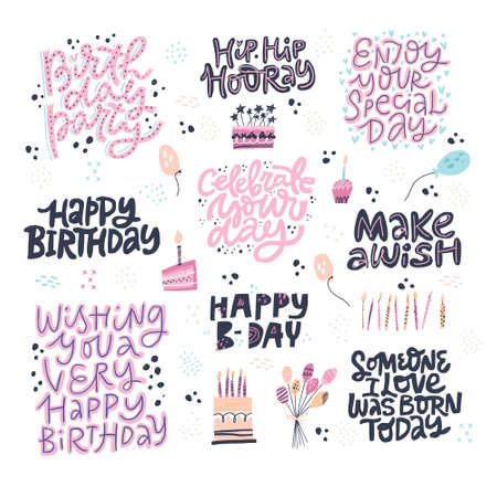 Birthday hand drawn greeting cards set. Festive vector postcards with lettering. Make a Wish, Happy B-day, Celebrate your Day phrases. Party invitation cards with balloons, cakes with candles