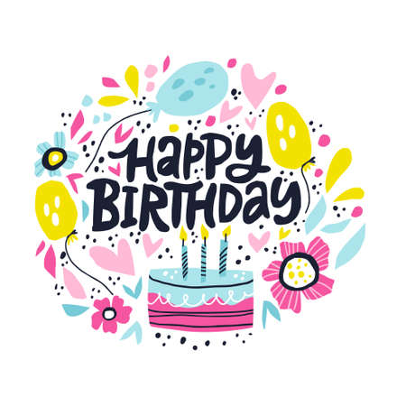 Happy Birthday lettering in hand drawn frame. Congratulations and wishes in balloons, flowers vector border. B-day cake with candles clipart. Five years anniversary celebration greeting card template