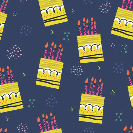 Birthday cakes hand drawn seamless pattern. Anniversary desserts with burning candles ornament. Presents and gifts festive wrapping paper. Muffin, cupcake with confetti vector illustration Ilustração