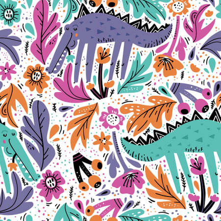 Alligator flat hand drawn seamless pattern. Cute crocodile cartoon character with flowers, berries, leaves. Jungle, rainforest, savanna african animal. Wildlife wrapping paper, kid textile, background