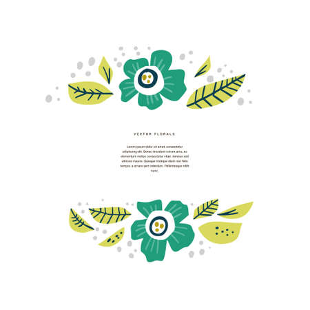 Floral border with copyspace hand drawn layout. Decorative frame with blooming flowers, leaves. Blossom, wildflower cartoon illustration with text space. Postcard, wedding greeting card design 向量圖像