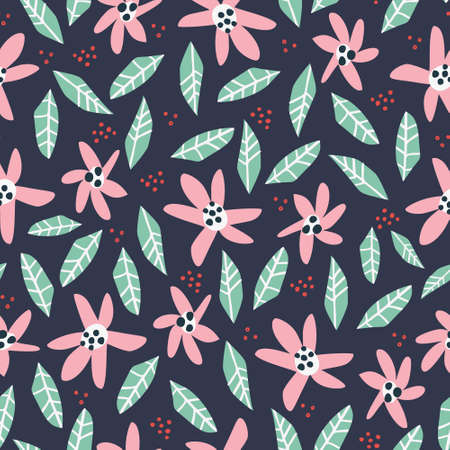 Flowers and foliage hand drawn seamless pattern. Colorful inflorescence vector illustration. Decorative background with wildflower. Floral wrapping paper, backdrop, textile, wallpaper cartoon design Illustration