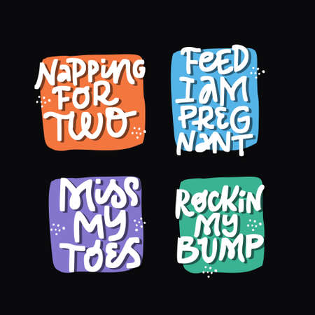 Childbearing phrases hand drawn lettering set. Pregnancy saying inscriptions on black background..Pregnant woman handwritten quotes pack. T shirt, motherhood poster typography cartoon design Illustration
