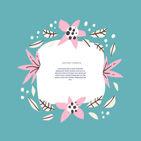 Floral circle with text space hand drawn template. Decorative frame with flowering, blossom. Bloom, foliage cartoon illustration with copyspace in round border. Postcard, invitation design