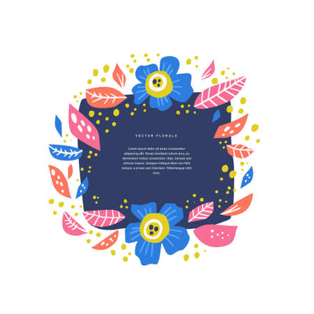 Floral circle with text space handdrawn layout. Decorative round frame with blooming flowers. Blossom, inflorescence cartoon illustration with copyspace. Scrapbook, wedding invitation design 向量圖像