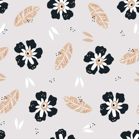 Flowers flat hand drawn seamless pattern. Blooming black and white poppies vector wrapping paper. Palm leaves textile ornament. Floral vector backdrop in scandinavian style. Summer nature  Иллюстрация
