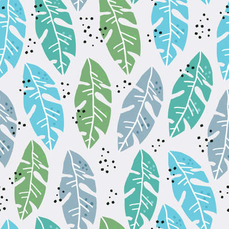 Palm leaves flat handdrawn seamless pattern. Botanical color vector backdrop. Monstera fronds textile ornament. Exotic, tropical foliage plant wrapping paper. Summer postcard backdrop