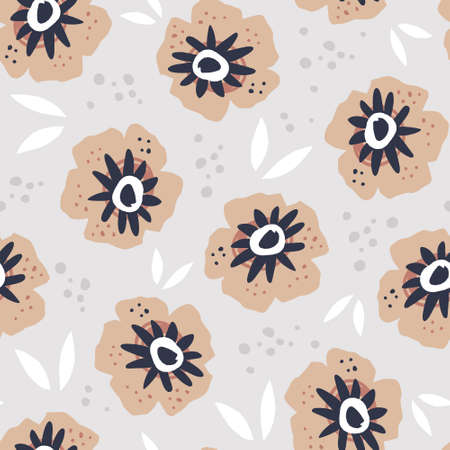 Poppies flat hand drawn seamless pattern. Blooming flowers vector wrapping paper. Blossoms and leaves textile ornament. Botanical vector backdrop in scandinavian style. Summer nature Ilustração