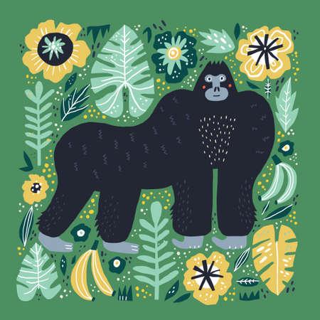 Gorilla flat hand drawn illustration. Cute cartoon primat character on botanical background. Bananas, palm leaves, flowers in scandinavian style. Wild African rainforest, jungle animal vector poster Illustration