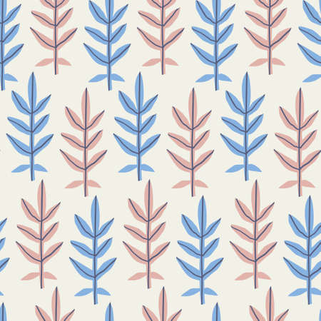 Leaves flat hand drawn seamless pattern. Pastel blue and beige twigs backdrop in  scandinavian style. Botanical vector minimalistic wallpaper. Tropical palm fronds ornament. Fern branches Illustration