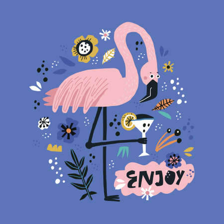 Pink flamingo flat hand drawn poster. Tropical bird standing on one leg, holding cocktail. Enjoy handwritten lettering. Summer season travel postcard. Elegant wild animal on botanical background