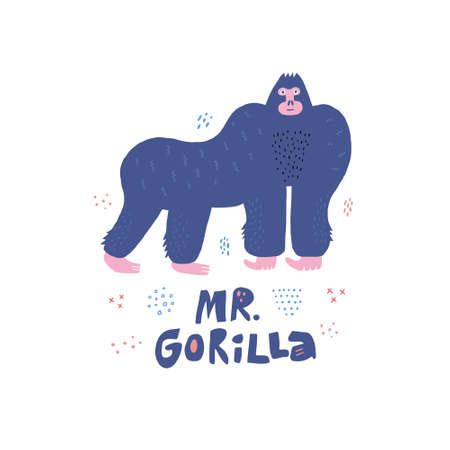 Gorilla hand drawn poster in scandinavian style. Primat character isolated clipart. Mr Gorilla lettering. Wild African rainforest, jungle animal. Cartoon letters collage. Doodle drawing