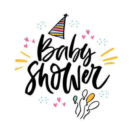Baby shower vector lettering. Festive handwritten ink calligraphy isolated design element. Welcoming newborn party celebration invitation. Brush stroke phrase with cartoon balloons and party hats