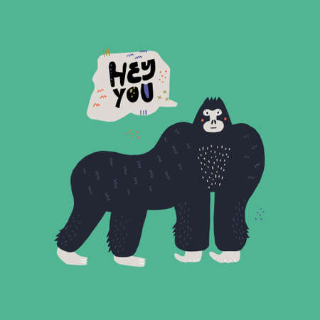 Gorilla vector hand drawn illustration. Cartoon primat character isolated clipart. Hey bro lettering in speech bubble. Wild African rainforest, jungle animal flat poster. Mammal with cute face