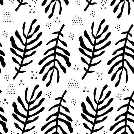Fern leaves flat hand drawn seamless pattern. Botanical vector monochrome backdrop. Tropical palm branches textile ornament. Black foliage plants on white background. Fronds silhouettes