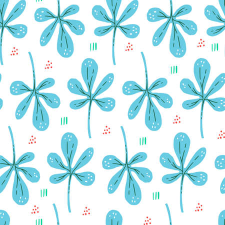 Botanical flat hand drawn seamless pattern. Blue leaves in scandinavian style. Seaweed with dots and lines vector backdrop. Succulent branches color wrapping paper. Plants textile ornament Иллюстрация