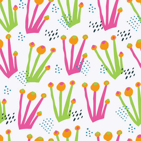 Botanical color hand drawn seamless pattern. Autumn season wrapping paper. Poisonous pink and green fungi vector backdrop in scandinavian style. Multicolor mushrooms cartoon background Illustration