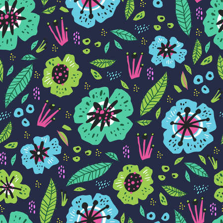 Floral flat hand drawn seamless pattern. Flowers, leaves and mushrooms in scandinavian style. Botanical vector backdrop. Wrapping paper for spring holidays presents. Poppies, wildflowers background