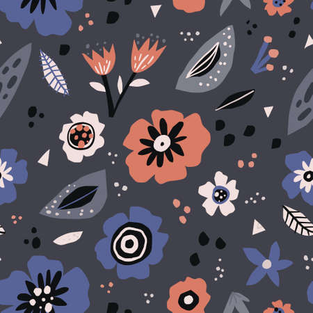 Floral flat seamless pattern in scandinavian style. Hand drawn flowers and leaves textile ornament. Multicolor tulips and poppies wrapping paper. Botanical vector backdrop. Spring nature wallpaper