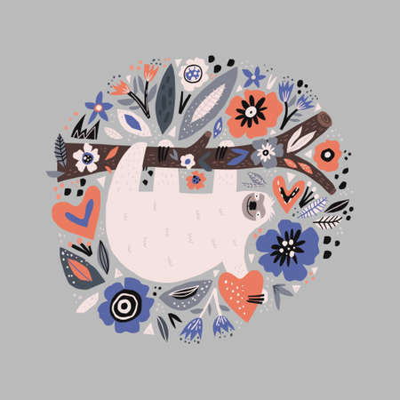Sloth flat hand drawn circle illustration. Lazy cartoon animal character hanging on tree branch. Multicolor poppies flowers vector border. Sleepy mammal with cute face holding heart 免版税图像 - 123327188