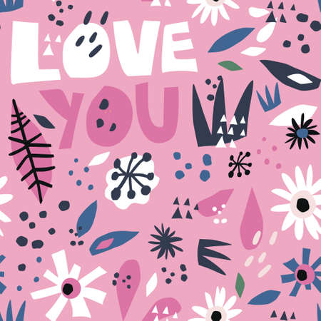 Romantic flat hand drawn seamless pattern. Love you cartoon lettering. Valentines Day festive wrapping paper. White camomiles on pink background. Spring, summer floral vector backdrop