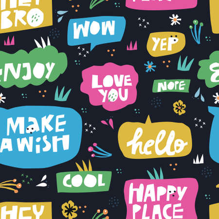 Lettering in speech bubbles seamless pattern. Cartoon white words in multicolor frames. Cherries and flowers in scandinavian style. Flat hand drawn text clouds background. Hello, Happy Place messages