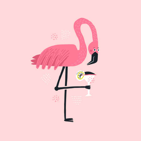 Flamingo with cocktail hand drawn illustration. Pink tropical bird holding alcoholic beverage. Elegant wild animal vector isolated clipart. Cocktail party poster. Exotic beach drink flat drawing Illustration