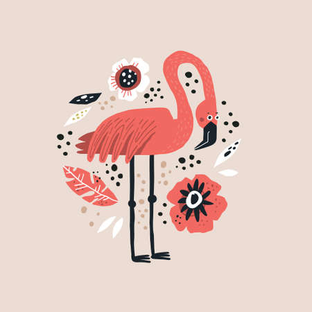 Flamingo vector hand drawn illustration. Pink exotic bird clipart. Wild animal cartoon character drawing in scandinavian style. Floral flat background. Poppy and palm leaf design elements