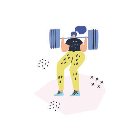 Woman doing squats with barbell vector drawing. Female athlete in sportswear cartoon character. Heavy athletics, bodybuilding hand drawn illustration. Sportswoman working out, training