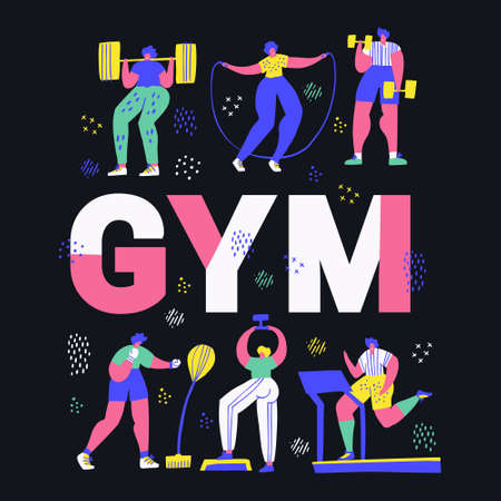 Gym, fitness center hand drawn word concept banner. Tiny people in sportive clothes cartoon characters. Working out, training exercises hand drawn vector illustration. Sport poster cartoon design