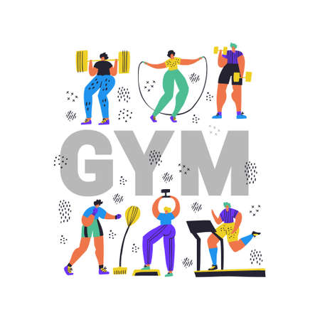 Fitness club, gym flat color word concept banner.. Tiny people in sportswear working out cartoon characters. Athletics, training exercises hand drawn vector illustration. Sport poster design