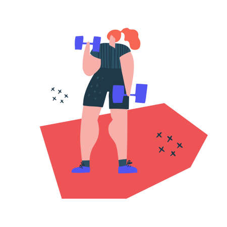 Lifting dumbbells exercise handdrawn illustration. Redhead woman in sportswear cartoon character. Fitness training flat color drawing. Muscular lady holding barbells, lifting weight, working out