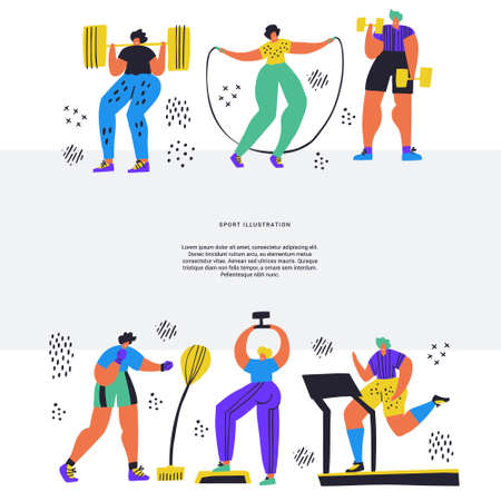 Training, workout hand drawn flat illustration. People in sportswear doing exercises cartoon characters. Jumping rope, boxing, jogging, barbell squats. Fitness magazine article layout with text space  イラスト・ベクター素材