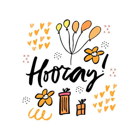 Hooray cartoon hand drawn vector lettering. Birthday, anniversary greeting card. Ink calligraphy with gift boxes, balloons and flowers doodle. Spring holidays. Festive flat invitation design element Фото со стока - 123111809