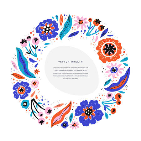 Flower text round border hand drawn vector illustration. Circle frame with flat multicolor poppies. Floral wreath cartoon clipart with copyspace. Wedding greeting card, invitation, poster element Ilustração