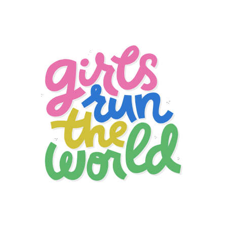 Girls run the world cartoon lettering. Song phrase flat clipart. Inspirational feminism slogan with multicolor words. Girl power quote. Motivational poster, t-shirt, banner isolated design element 일러스트
