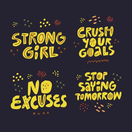 Motywowanie slogan ręcznie rysowane płaski napis zestaw. Inspirujące odręcznie żółte frazy, cytaty szkic, rysunek na czarnym tle. Pozytywny styl życia, silna siła woli. Plakat, projekt koszulki